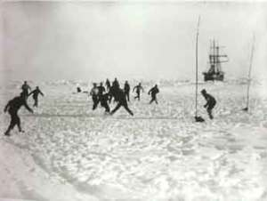 Football on the ice. (Photographer: Frank Hurley)